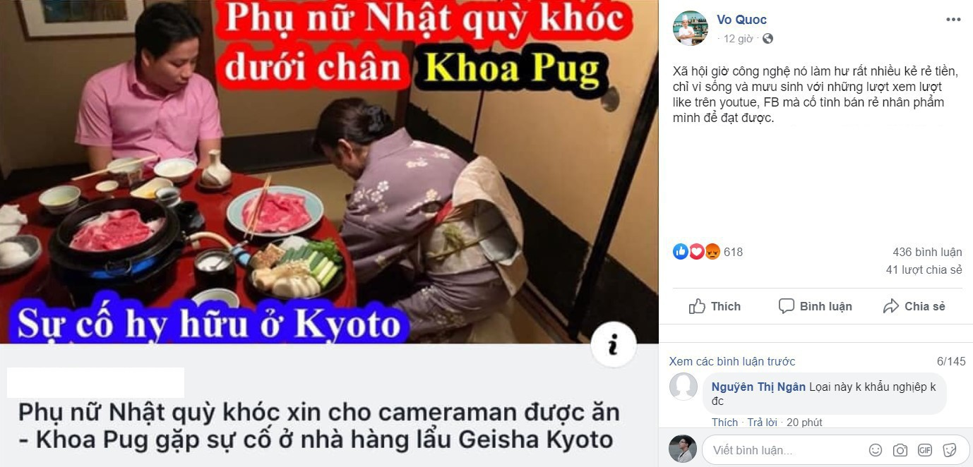 Khoa Pug bị chỉ trích vì cố tình đặt title không đúng nội dung để câu view. Ảnh chụp màn hình.
