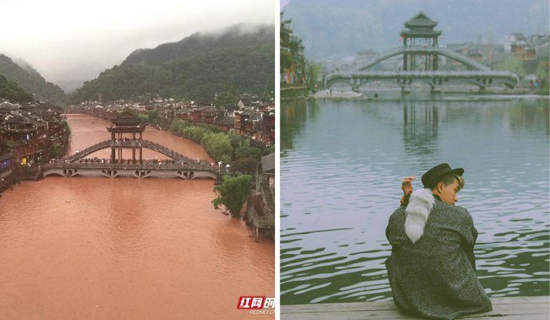 Phượng hoàng cổ trấn ngập trong nước